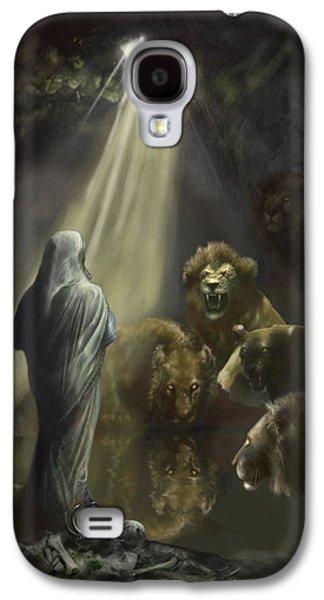 Bible Paintings Galaxy S4 Cases - Daniel in the Lions Den Galaxy S4 Case by Matt Kedzierski