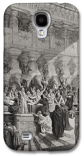Religious Drawings Galaxy S4 Cases - Daniel Interpreting the Writing on the Wall Galaxy S4 Case by Gustave Dore