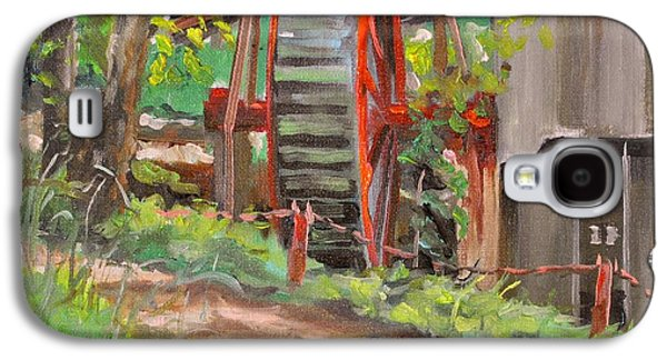 Grist Mill Paintings Galaxy S4 Cases - Dappled Road Galaxy S4 Case by Spencer Meagher