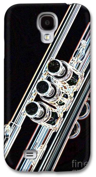 Music Drawings Galaxy S4 Cases - Dark Drawing of a Trumpet or Cornet Valves isolated 3017.04 Galaxy S4 Case by M K  Miller