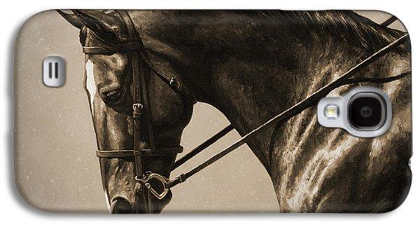 Horseback Galaxy S4 Cases - Dark Dressage Horse Old Photo FX Galaxy S4 Case by Crista Forest