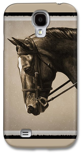 Horseback Galaxy S4 Cases - Dark Dressage Horse Old Photo FX Galaxy S4 Case by Crista Forest