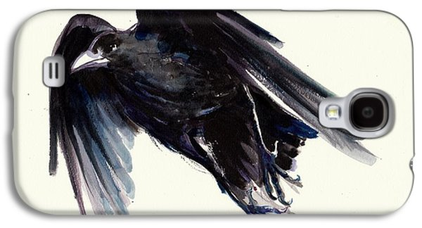 Sombre Galaxy S4 Cases - Dark Raven in Flight - Crow Flying Galaxy S4 Case by Tiberiu Soos
