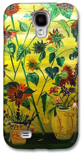 The Followers Paintings Galaxy S4 Cases - Dark Sunflowers Galaxy S4 Case by Joe Ballone