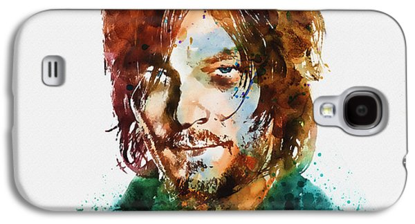 Walking Mixed Media Galaxy S4 Cases - Daryl Dixon watercolor portrait Galaxy S4 Case by Marian Voicu