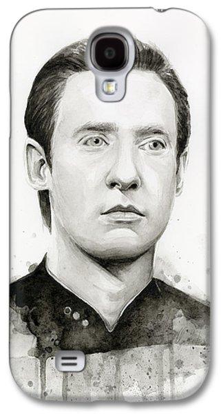Science Fiction Paintings Galaxy S4 Cases - Data Portrait Star Trek Fan Art Watercolor Galaxy S4 Case by Olga Shvartsur
