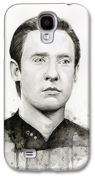 Star Trek Galaxy S4 Cases - Data Portrait Star Trek Fan Art Watercolor Galaxy S4 Case by Olga Shvartsur