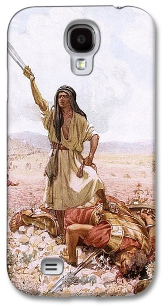 Bible Drawings Galaxy S4 Cases - David and Goliath Galaxy S4 Case by William Brassey Hole