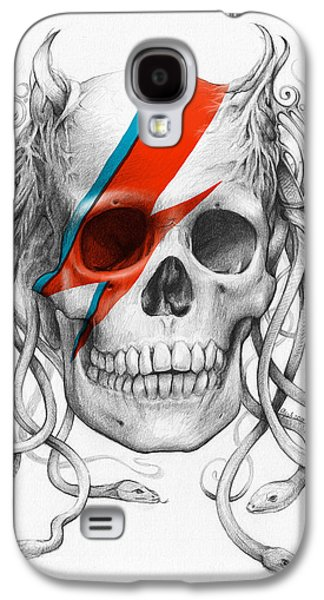Pencil Galaxy S4 Cases - David Bowie Aladdin Sane Medusa Skull Galaxy S4 Case by Olga Shvartsur