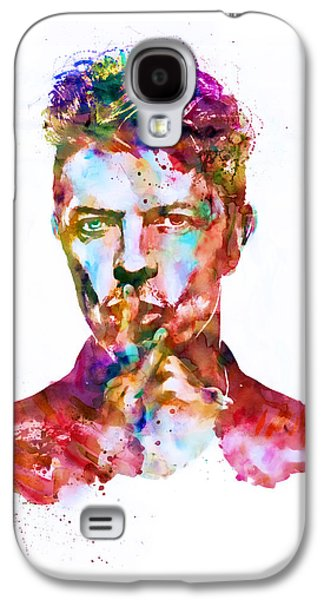 """""""square """" Mixed Media Galaxy S4 Cases - David Bowie watercolor Galaxy S4 Case by Marian Voicu"""