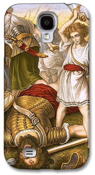Bible Drawings Galaxy S4 Cases - David Slaying Goliath Galaxy S4 Case by English School