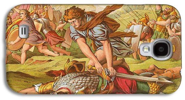 Bible Drawings Galaxy S4 Cases - David Slaying the Giant Goliath Galaxy S4 Case by English School