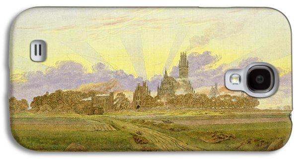Sun Rays Paintings Galaxy S4 Cases - Dawn at Neubrandenburg Galaxy S4 Case by Caspar David Friedrich