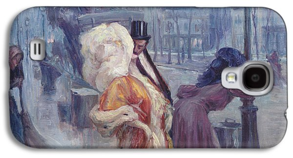 Night Lamp Paintings Galaxy S4 Cases - Dawn Leaving the Restaurant in Montmartre Galaxy S4 Case by Georges Redon