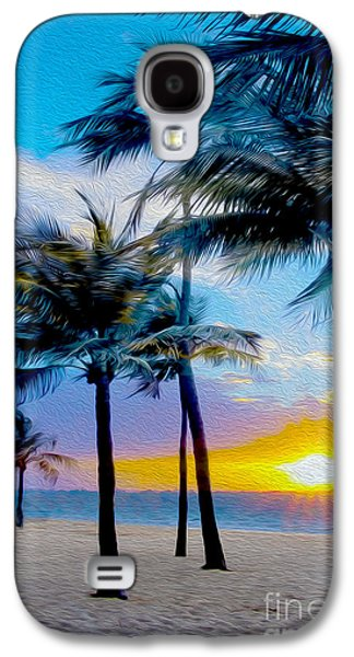 Beach Landscape Mixed Media Galaxy S4 Cases - Day at the Beach Galaxy S4 Case by Jon Neidert