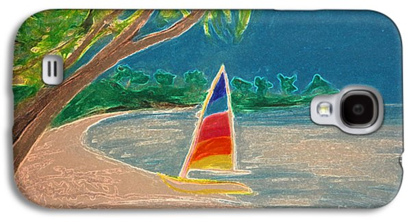 Abstract Seascape Pastels Galaxy S4 Cases - Day Sailer Galaxy S4 Case by First Star Art