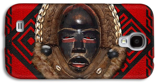 African Heritage Galaxy S4 Cases - Dean Gle Mask by Dan People of the Ivory Coast and Liberia on Red Leather Galaxy S4 Case by Serge Averbukh