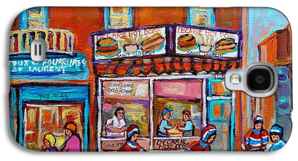 Montreal Paintings Galaxy S4 Cases - Decarie Hot Dog Restaurant Ville St. Laurent Montreal  Galaxy S4 Case by Carole Spandau