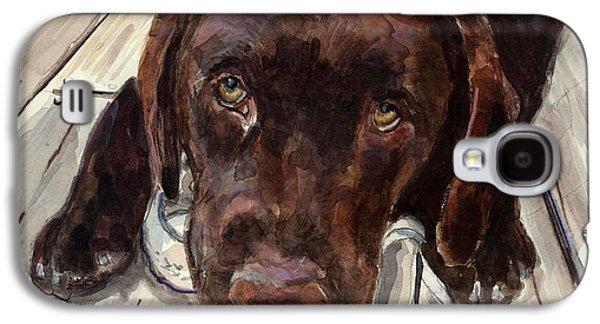 Chocolate Labrador Retriever Galaxy S4 Cases - Deckhand Galaxy S4 Case by Molly Poole
