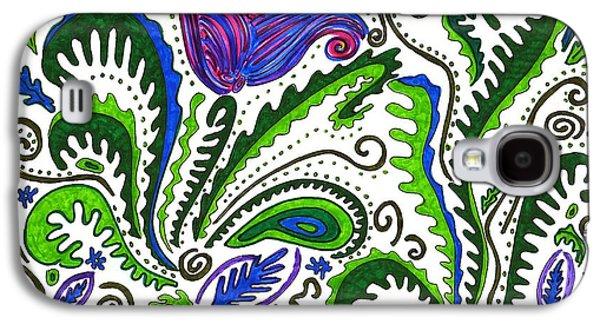 Joyful Drawings Galaxy S4 Cases - Deco Garden Galaxy S4 Case by Sarah Loft