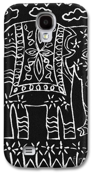 Lino-cut Galaxy S4 Cases - Decorated Elephant Galaxy S4 Case by Caroline Street