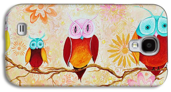 Fanciful Galaxy S4 Cases - Decorative Whimsical Owl Owls Chi Omega Painting by Megan Duncanson Galaxy S4 Case by Megan Duncanson