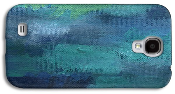 Blue Abstracts Galaxy S4 Cases - Tranquility- abstract painting Galaxy S4 Case by Linda Woods