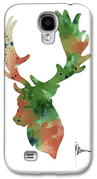 Deer Antlers Silhouette Watercolor Art Print Painting Galaxy S4 Case by Joanna Szmerdt