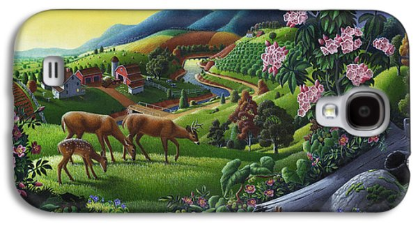 Kinkade Galaxy S4 Cases - Deer Chipmunk Summer Appalachian Folk Art - Rural Country Farm Landscape - Americana  Galaxy S4 Case by Walt Curlee