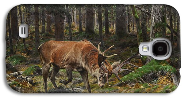 Haunted House Paintings Galaxy S4 Cases - Deer in a Forest Glade Galaxy S4 Case by Celestial Images