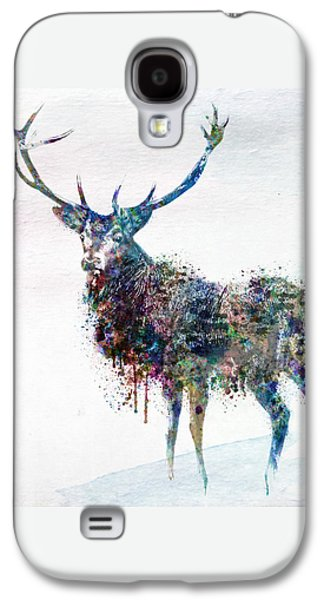 """""""square """" Mixed Media Galaxy S4 Cases - Deer in watercolor Galaxy S4 Case by Marian Voicu"""