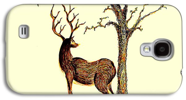 Earth Tones Drawings Galaxy S4 Cases - Deer Galaxy S4 Case by Len YewHeng