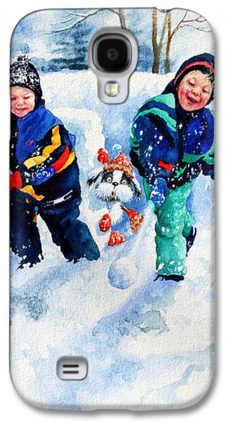Dogs In Snow. Paintings Galaxy S4 Cases - Defend Our Front Yard Galaxy S4 Case by Hanne Lore Koehler