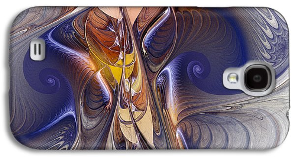 Contemplative Digital Galaxy S4 Cases - Delicate Spiral Duo in Blue Galaxy S4 Case by Karin Kuhlmann