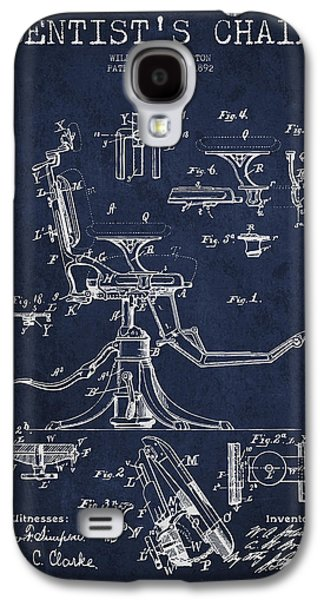 Chair Galaxy S4 Cases - Dentist Chair Patent drawing from 1892 - Navy Blue Galaxy S4 Case by Aged Pixel