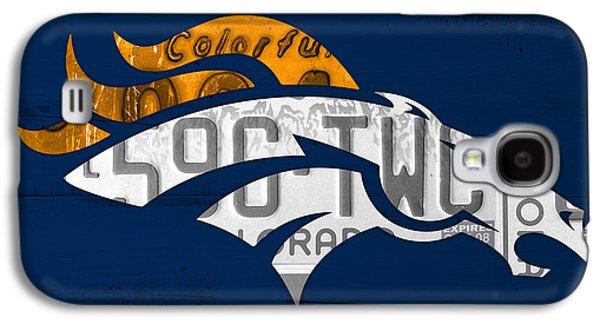 Denver Broncos Football Team Retro Logo Colorado License Plate Art Galaxy S4 Case by Design Turnpike
