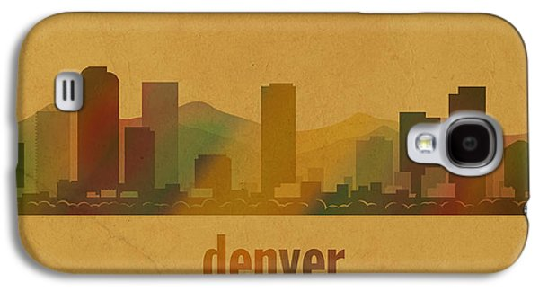 Parchment Galaxy S4 Cases - Denver Colorado Skyline Watercolor On Parchment Galaxy S4 Case by Design Turnpike