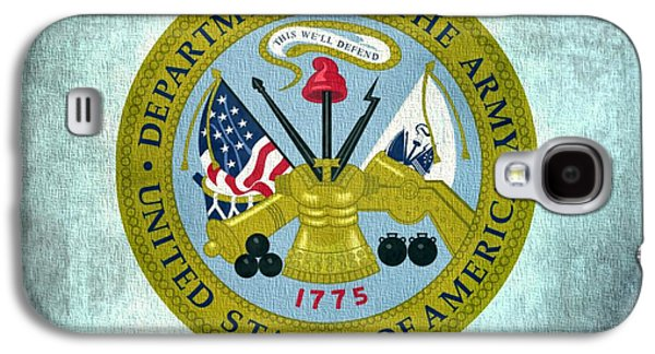 Government Mixed Media Galaxy S4 Cases - Department Of The Army Seal On Canvas Galaxy S4 Case by Dan Sproul
