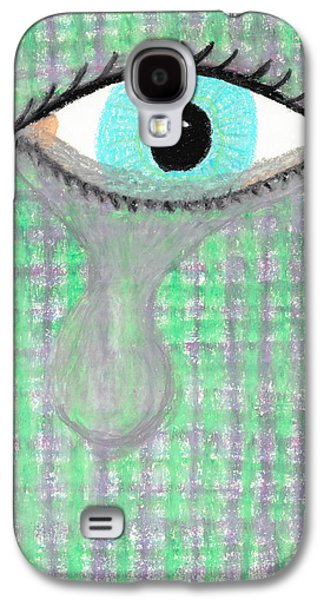 Torn Pastels Galaxy S4 Cases - Depiction of an Eye Crying Galaxy S4 Case by Jessica Foster