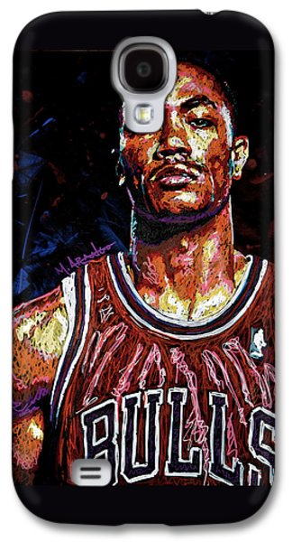 Nba Paintings Galaxy S4 Cases - Derrick Rose-2 Galaxy S4 Case by Maria Arango