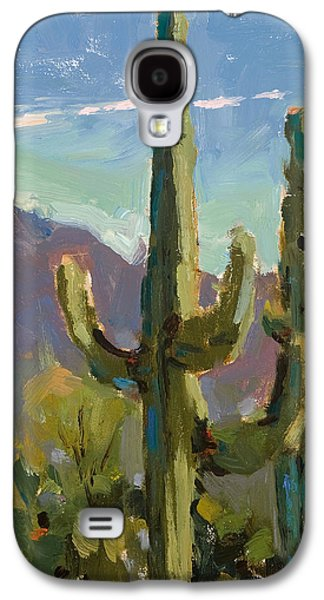 Sonora Paintings Galaxy S4 Cases - Desert Drama Galaxy S4 Case by Judy Crowe