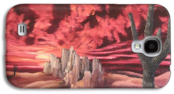 Bob Ross Paintings Galaxy S4 Cases - Desert Fury Galaxy S4 Case by John Kemp