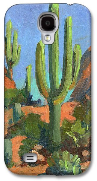 Country Scenes Galaxy S4 Cases - Desert Morning Saguaro Galaxy S4 Case by Diane McClary