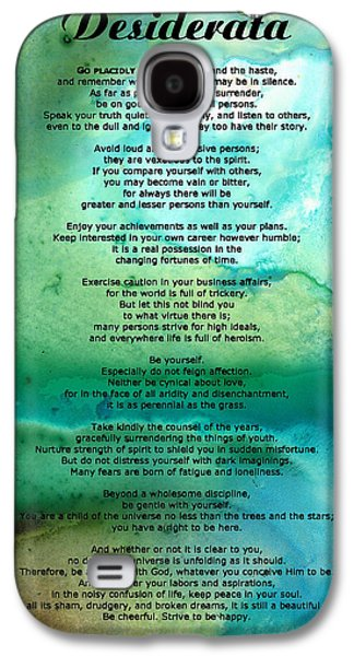 Art Sale Galaxy S4 Cases - Desiderata 2 - Words of Wisdom Galaxy S4 Case by Sharon Cummings
