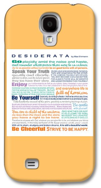 Poetry Galaxy S4 Cases - Desiderata - Multi-Color - Square Format Galaxy S4 Case by Ginny Gaura
