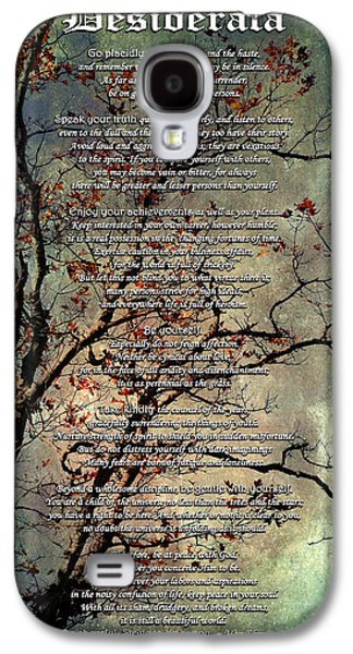 Desiderata Inspiration Over Old Textured Tree Galaxy S4 Case by Christina Rollo