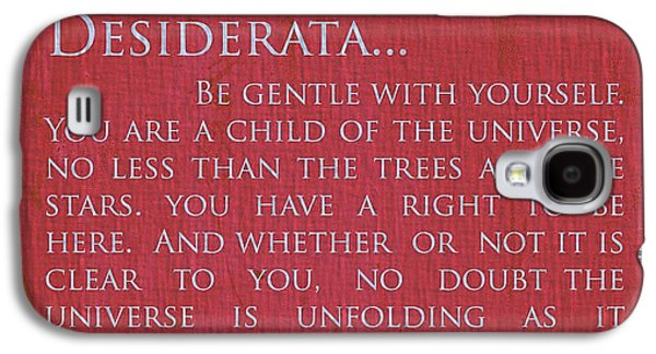 Author Mixed Media Galaxy S4 Cases - Desiderata On Red Canvas Galaxy S4 Case by Dan Sproul