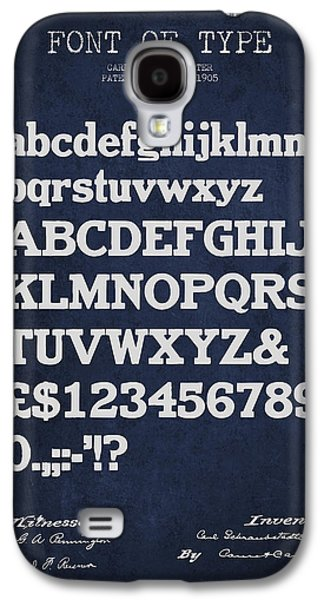 Font Galaxy S4 Cases - Design for a Font of  Type Patent Drawing from 1905 - Navy Blue Galaxy S4 Case by Aged Pixel