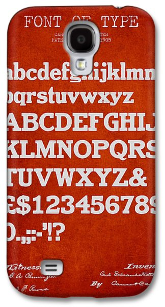 Font Galaxy S4 Cases - Design for a Font of  Type Patent Drawing from 1905 - Red Galaxy S4 Case by Aged Pixel