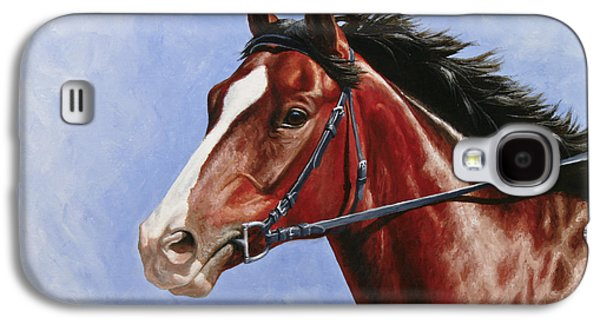 Horse Racing Galaxy S4 Cases - Horse Painting - Determination Galaxy S4 Case by Crista Forest